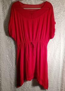Express Red/Pink Cinch Waist Dress Size M